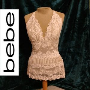 BEBE LACE BACKLESS TOP - NWOT